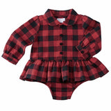 Mud Pie Christmas Red Black Buffalo Check 1 Pc Crawler Set