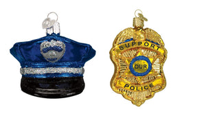 Old World Christmas Police Badge and Officer Uniform Cap Glass Christmas Ornament Set