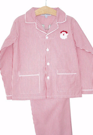 Christmas Pajamas with Santa Embroidery, Red and White Stripe