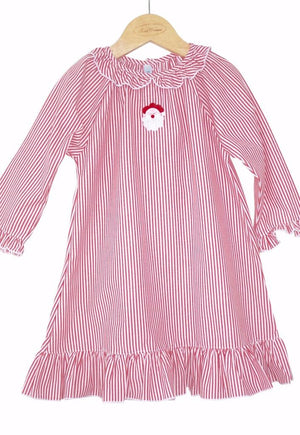 Christmas Nightgown with Santa Embroidery, Red and White Stripe