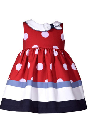 Bonnie Jean Nautical Dress, Red with White Polka Dots