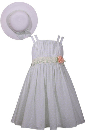 Bonnie Jean Mint Green Sundress and Hat Set