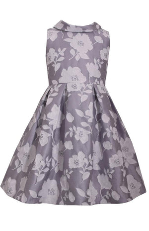 Bonnie Jean Pleated Jacquard Dress, Dove Gray, Floral Print