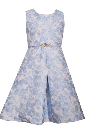 Bonnie Jean Floral A-Line Jacquard Dress, Blue and White