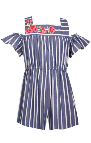 Bonnie Jean Striped Chambray Romper, Navy and White