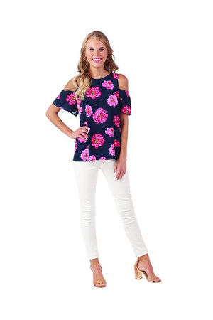 Mud Pie Womens Lawson Cold Shoulder Summer Top, Pink Peony