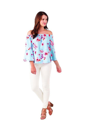 Mud Pie Womens Izzy Off-the Shoulder Summer Top, Blue Floral