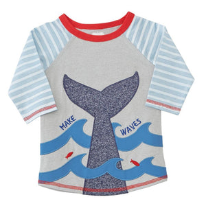 Mud Pie Sail Away Collection Whale Rash Guard Boys Swimsuit Shirt
