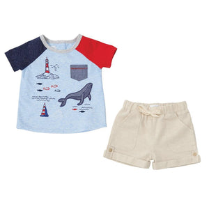 Mud Pie Sail Away Collection Lighthouse Boys Shorts Set