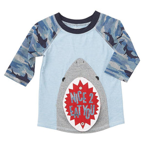 Mud Pie Shark Tank Collection Boys Rash Guard Swim Shirt