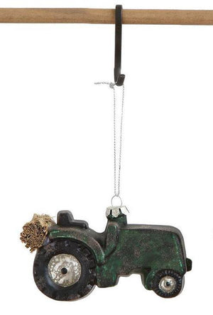 "2.75"" Glass Green Tractor Christmas Village Farm Ornament"