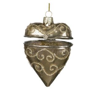 Sullivans Gold Glass Heart Trinket Box Christmas Ornament
