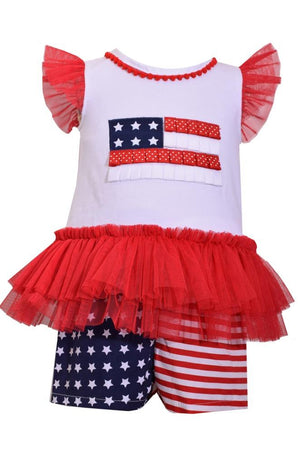 Bonnie Jean Red White and Blue USA American Flag Shorts Set
