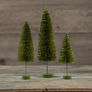 "Retro Citrene Green 7""-11"" Christmas Village Bottle Brush Tree Set of 3"