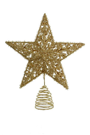 "Gold Glitter Ornate Star Shape 13"" Christmas Tree Topper"