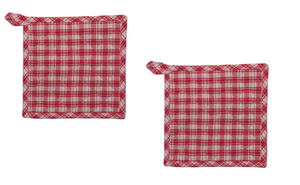 "Red and Cream Plaid Farmhouse Christmas 8"" Square Pot Holder Set of 2"