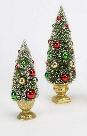 180 Degrees Snow Covered Bottle Brush Tree in Urn Christmas Set of 2 White