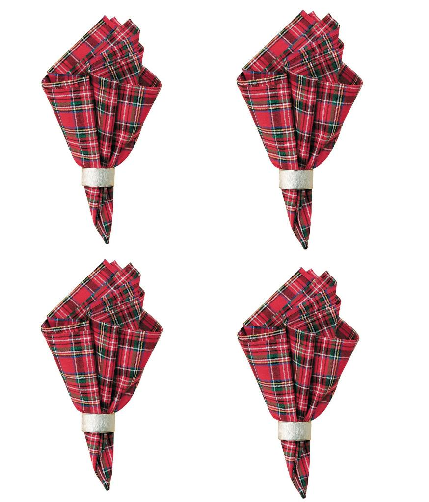"C F Red Tartan Plaid Christmas 18"" Square Holiday Cloth Napkins, Set of 4"