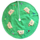 New World Arts Easter Chick on Bright Green Background Tree Skirt