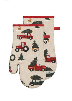 Vintage Red Car with Christmas Tree Holiday Kitchen Decor