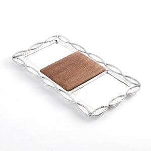 Mud Pie Knot & Beau Cast Aluminum and Mango Wood Sectioned Tray, Silver