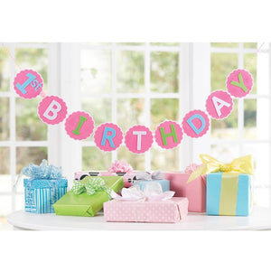 "Mud Pie ""1st Birthday"" Pink Girls Birthday Banner Sign"