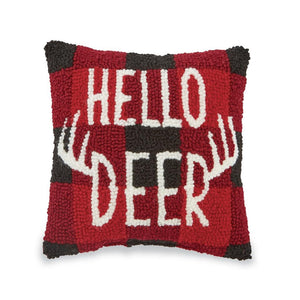 "Mud Pie Buffalo Check Hello Deer Stag 8"" Sq Hooked Decor Pillow"