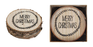 "4"" Wood Slice Drink Coaster wtih ""Merry Christmas"" Wreath Design-Set of 4"