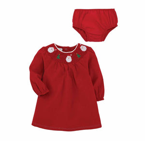 Mud Pie Kids Red Corduroy Dress Smocked Neckline Santa Christmas Embroidery