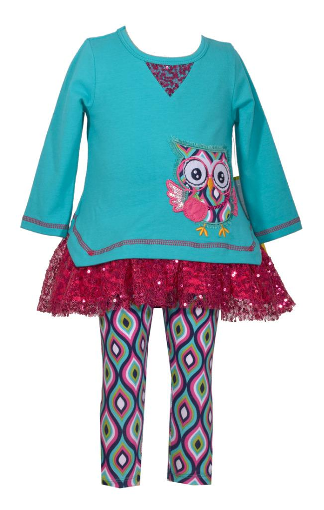 Bonnie Jean Teal Blue Tunic With Owl Applique and Lace Ruffle Printed Legging Set