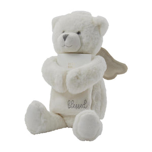 Blessed White Angel Teddy Bear and Bible Baby Christening Gift Set