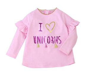"Mud Pie Kids ""I Love Unicorns"" Pink Ruffled Girls Tee Shirt Top"