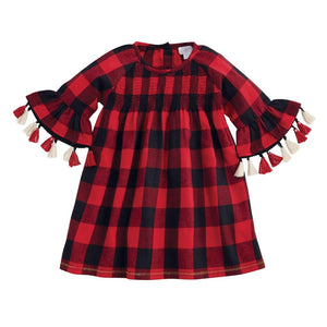 Mud Pie Kids Smocked Buffalo Check Alpine Village Christmas Girls Dress