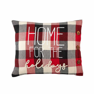 Home for the Holidays Tri Color Buffalo Check Pillow Button Accents