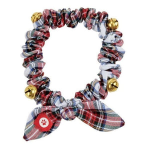 Mud Pie Home Plaid Christmas Dog Collar Elastic Jingle Bells