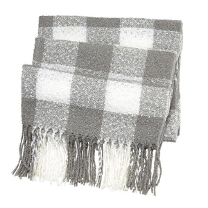 Mud Pie Womens Womens Buffalo Check Fringed Scarf Wrap