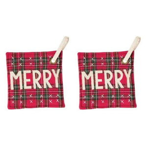 Mud Pie Christmas Royal Stewart Red Tartan Plaid Hot Mitt Pot Holder Set of 2