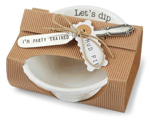 "Mud Pie Home Circa Collection Pedestal Dip Bowl and Spreader Set ""Let's Dip"""