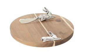 Harman Deer Reindeer Acacia Wood Cheese Board and Spreader Serving Set