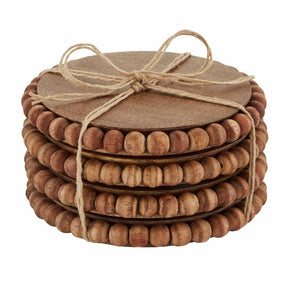 Mud Pie Home Mango Wood Wooden Beaded Drink Bar Coasters