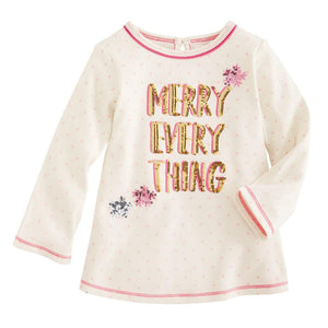 "Mud Pie Kids Girls Season to Sparkle Christmas ""Merry Everything"" Tunic Top"