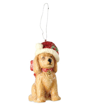 "Bethany Lowe Santa Paws Yellow Retriever Christmas Santa Hat 3"" Ornament"