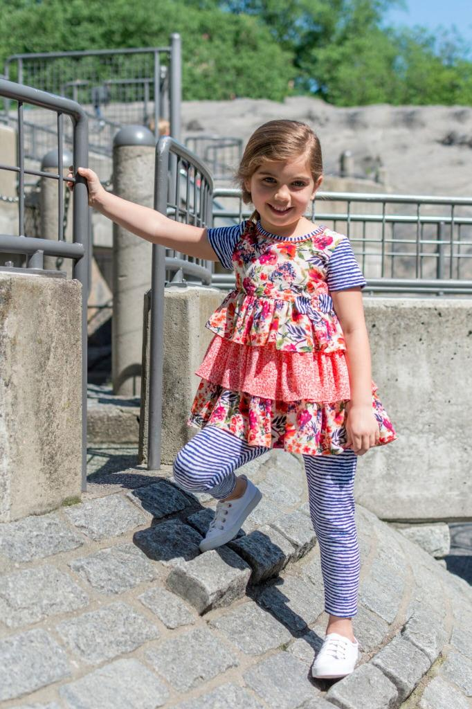 Bonnie Jean Short Sleeve Pink Floral Print Tiered Dress and Blue Striped Legging Set