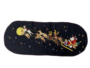 KIG Exclusives Santa and Reindeer in Sleigh on Black Background Tablerunner