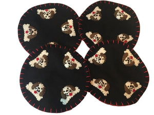KIG Exclusives Dogs on Black Felt Handmade Christmas Drink Coasters Set of 4