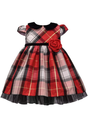 Bonnie Jean Short Sleeve Christmas Dress Red White Plaid Black Tulle Accent