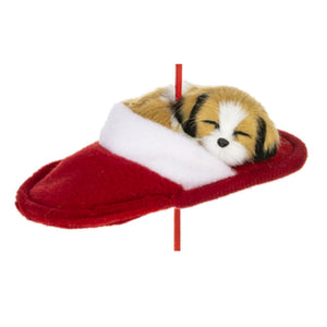"Mid West Brown/White Dog in Slipper 5.25"" Wide Christmas Ornament"