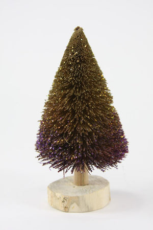 "Cody Foster 6"" Violet and Gold Ombre Christmas Village Buri Bottle Brush Tree"