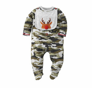 Mud Pie Kids Camo Christmas 1 Pc Longall Set with Reindeer Bib