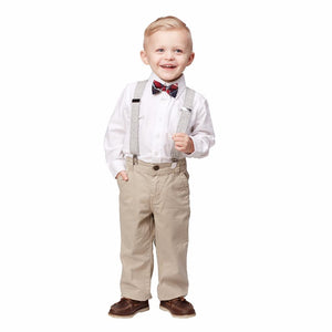 Mud Pie Christmas Tweed Suspenders Plaid Bow Tie Set Holiday Best